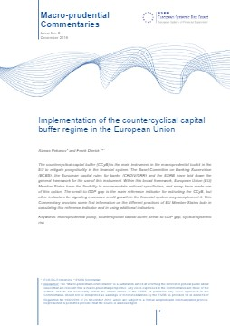 Macroprudential Commentaries - Implementation of the countercyclical capital buffer regime in the European Union - cover image